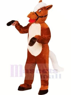 Lächelnd Braun Pferd Maskottchen Kostüme Karikatur