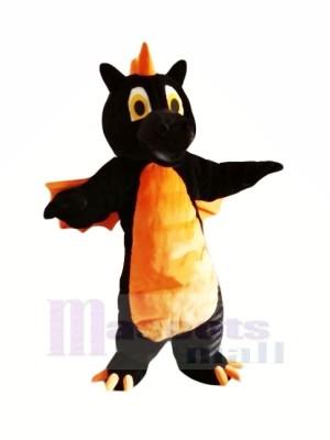 Schwarz Drachen mit Orange Flügel Maskottchen Kostüme Tier