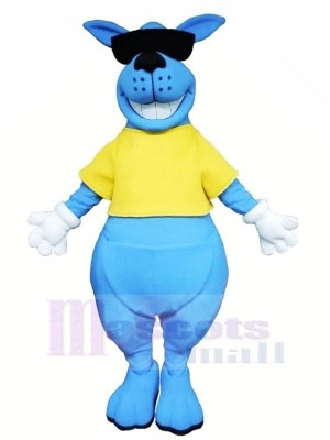 Lächelnd Blau Känguru Maskottchen Kostüme Tier