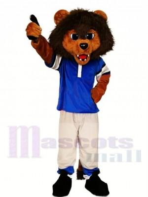 Sportlicher Löwe im blauen Hemd Maskottchen Kostüm