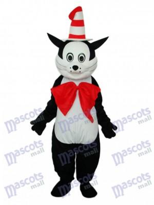 Schwarze Katze mit Hut Maskottchen Erwachsene Kostüm Tier