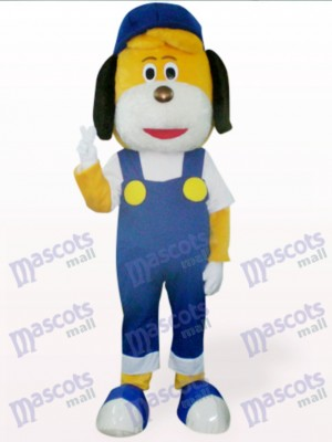 Blauer Hund im Hut Maskottchen Kostüm