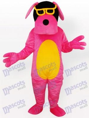 Pink Dog mit gelben Bauch und Brille Maskottchen Kostüm für Erwachsene