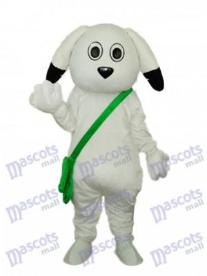 Grüner Beutel Weißer Hund Maskottchen Erwachsener Kostüm Tier