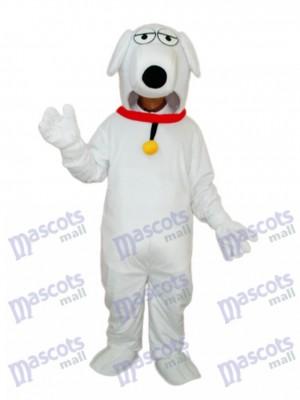 Weißer Hund mit Necklet Maskottchen Adult Kostüm Tier