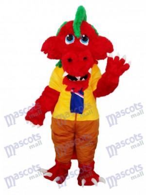 Lange Wolle Rote Drachen Maskottchen Erwachsene Kostüm Tier