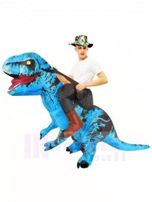 Blauer Tyrannosaurus T-Rex Aufblasbar Trag mich Fahrt auf Kostüm