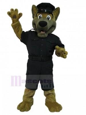 Deutscher Schäferhund Maskottchen Kostüm mit schwarzer Polizeiuniform Tier