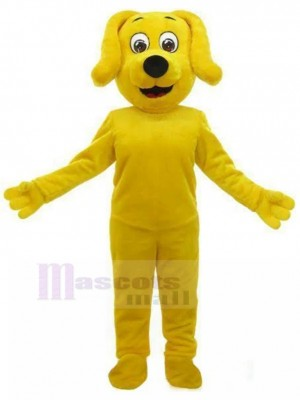Lächelndes gelbes Hundemaskottchen-Kostüm mit hängenden Ohren Tier