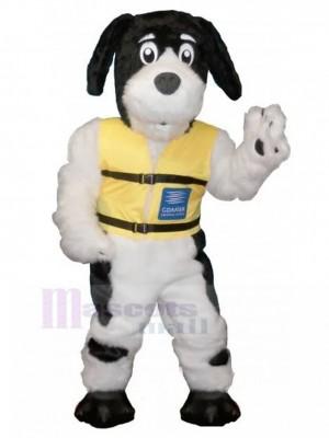 Schwarz-weißes haariges Hundemaskottchen-Kostüm mit gelbem Weste-Tier