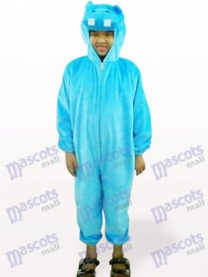 Blaues Nilpferd Open Face Kinder Maskottchen Kostüm