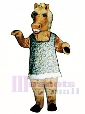 Martha Stute Pferd mit Kleid, Hut und Brille Maskottchen Kostüm
