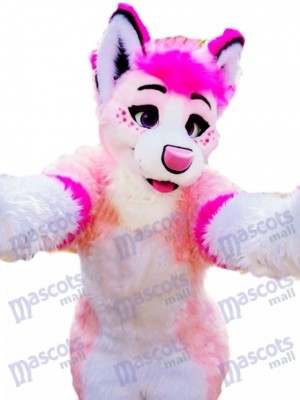 Pink Husky Hund Erwachsene Maskottchen Kostüm Tier Cartoon