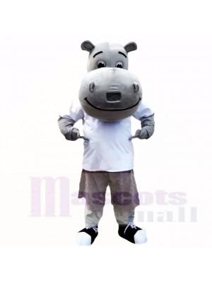 Grau Nilpferd mit Weiß Hemd Maskottchen Kostüme Schule