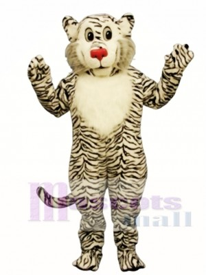 Schüchtern Weiß Löwe Maskottchen Kostüm