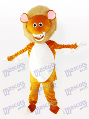 Gelbes männliches Löwe erwachsenes Maskottchen Kostüm