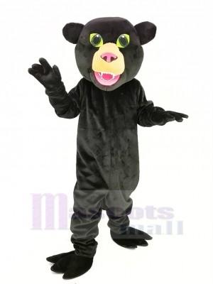 Schwarz Panther mit Grün Augen Maskottchen Kostüm Tier