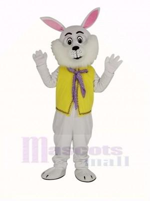 Weiß Ostern Hase im Gelb Weste Maskottchen Kostüm