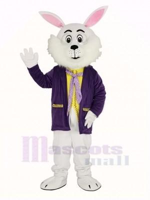 Weiß Ostern Hase im Lila Mantel Maskottchen Kostüm