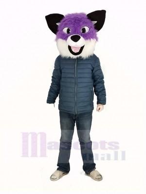 Lila Heiser Hund Maskottchen Kostüm Kopf Nur