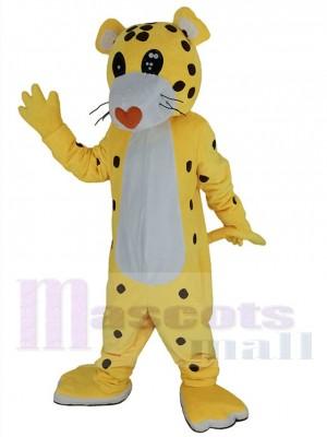 Gepard Leopard Maskottchen Kostüm mit roter Liebesnase Tier