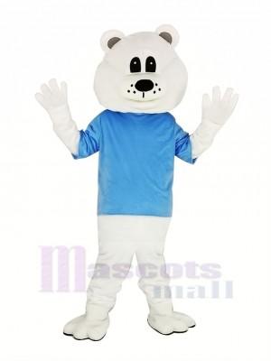 Niedlich Weiß Bär mit Blau T-Shirt Maskottchen Kostüm Erwachsene