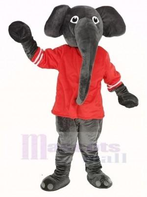 Grau Elefant mit rot T-Shirt Maskottchen Kostüm
