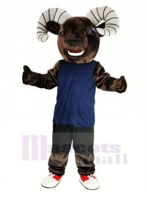 Dunkel Braun Sport RAM mit Blau Weste Maskottchen Kostüm Tier