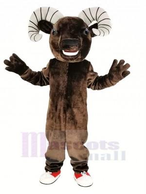 Dunkel Braun Sport RAM Maskottchen Kostüm Tier