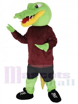 Grüner Alligator Maskottchen Kostüm im kastanienbraunen Hemd Tier