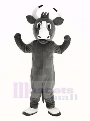 glücklich Grau Stier Maskottchen Kostüm