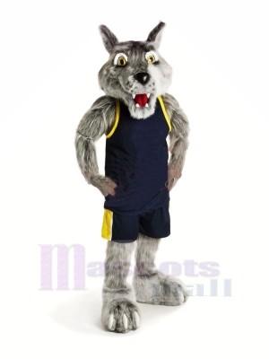 Sport Wolf mit Schwarz Weste Maskottchen Kostüme Karikatur