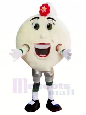 Weiß Pfannkuchen Krapfen Maskottchen Kostüm Karikatur