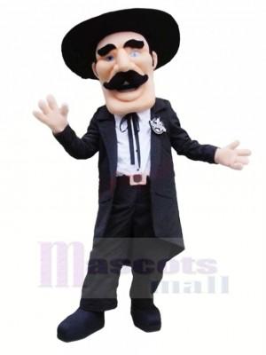 Gentleman mit Schwarz Hut Maskottchen Kostüm Menschen