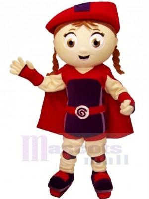 Niedlich Mädchen mit rot Hut Maskottchen Kostüm Karikatur