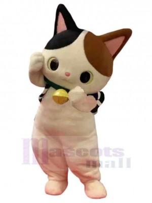 Süße Katze Maskottchen Kostüm Tier mit schwarzen und braunen Ohren