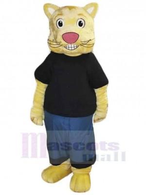 Cookie die Kulturkatze Maskottchen Kostüm Tier im schwarzen T-Shirt
