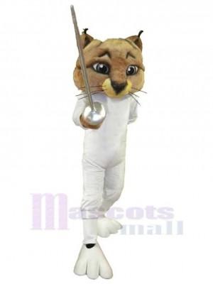 Coole Fechterkatze Maskottchen Kostüm Tier