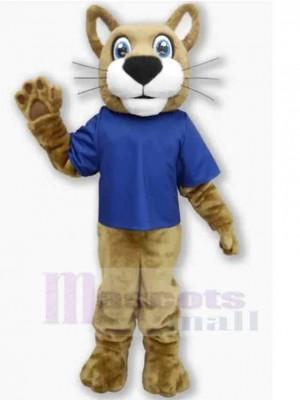 Freundliche Wildkatze Maskottchen Kostüm Tier im blauen T-Shirt
