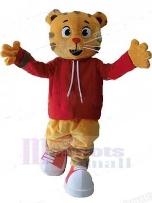 Orange und graue Katze Maskottchen Kostüm Tier in roten Kleidern