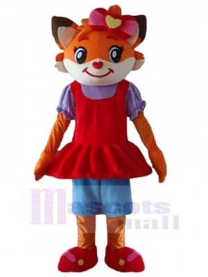 Orange und weiße Katze Maskottchen Kostüm Tier im roten Kleid