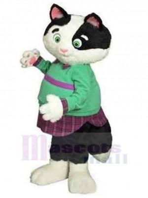 Fette Katze Maskottchen Kostüm Tier in grüner Kleidung