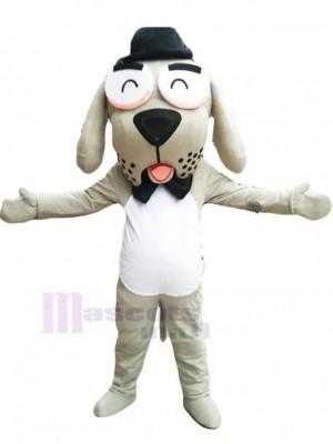Liebenswürdiger Gentleman-Hund Maskottchen-Kostüm mit schwarzer Fliege Tier