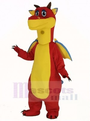 rot Drachen mit Blau Flügel Maskottchen Kostüm Tier