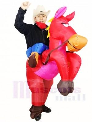 Cowboy Fahrt auf roten Pferdeaufblasbaren Halloween Weihnachts kostümen für Erwachsene