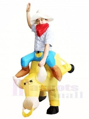 Cowboy Fahrt weiter Gelb Aufblasbare Halloween Weihnachts kostüme für Erwachsene