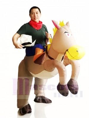 Cowboy Fahren auf Grau Pferd Aufblasbar Halloween Weihnachten Kostüme für Erwachsene