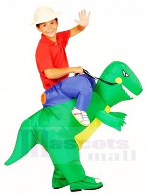Grüner Dinosaurier Tragen Sie mich auf T-Rex Aufblasbare Fahrt Halloween Weihnachten Kostüme für Kinder