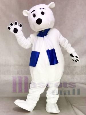 Blaues und weißes Schal Eisbär Maskottchen Kostüm Tier