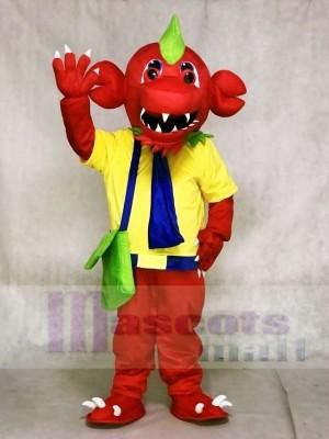 Roter Drache mit gelbem Hemd und grünen Taschen Maskottchen Kostümen